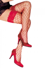 Bas autofixants Erica Rouge - Anne d'Alès : Mettez en scène la beauté de vos jambes avec les bas Erica en filet rouge, des bas autofixants créés par Anne d'Alès.