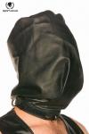 Spartacus Bag-Style Hood - Cagoule en cuir noir, opaque et coup�e � la mani�re d'un sac pour faire monter la pression.