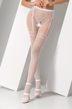 Collants ouverts S012 - Blanc : Collants ouverts en résille blanche avec un motif élégant de culotte et jarretelles.