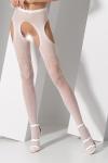 Collants ouverts S017 - Blanc - Collants ouverts en résille blanche fantaisie avec découpe porte-jarretelles sexy.
