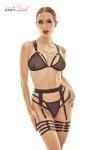 Ensemble sexy Wonder - Anaïs - Ensemble lingerie sexy style BDSM chic, soutien-gorge, tanga, et ceinture à jarretières.