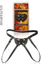 Gode ceinture cuir mixte : Ce gode-ceinture haute qualit�, Tout en cuir, est un tr�s grand classique de la marque Spartacus.