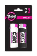 Pack 2 Briquets Jacquie & Michel : Lot de 2 briquets Jacquie & Michel sous blister.