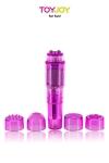 Pocket Rocket ToyJoy - Mini stimulateur de clitoris avec 5 embouts pour varier les plaisirs.