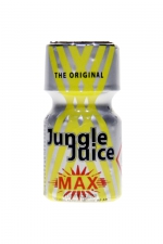 Poppers Jungle Juice Max 10ml : Petit flacon de Jungle Juice Max Original, à base d'Amyle, offrant des sensations intenses.
