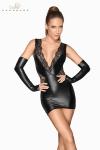 Mini robe wetlook et dentelle F212 - Robe courte en wetlook mat pleine de sensualité avec ses empiècements de fine dentelle transparente.