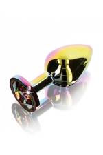 Plug anal Twilight Booty Jewel - Medium : Plug anal taille medium en aluminium et verre acrylique, dimensions 8,2 x 3,4 cm, corps et bijou arc en ciel, by ToyJoy.